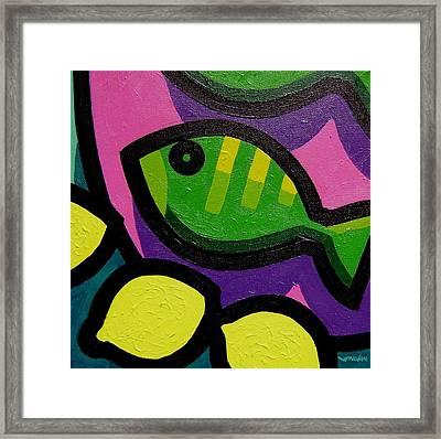 Fish And Lemons Framed Print by John  Nolan