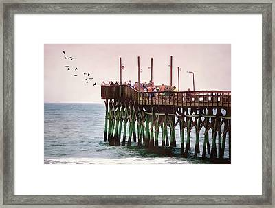 Fish Are Biting At The Pier Framed Print