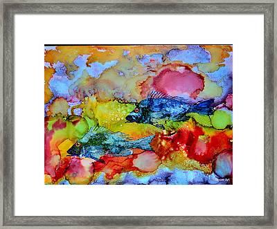 Fish At Sunset Framed Print by Brenda Alcorn