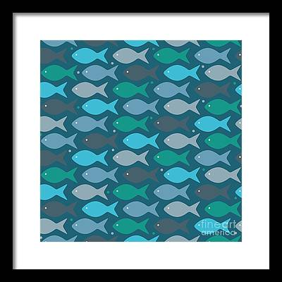 Abstract Fish Digital Art Framed Prints