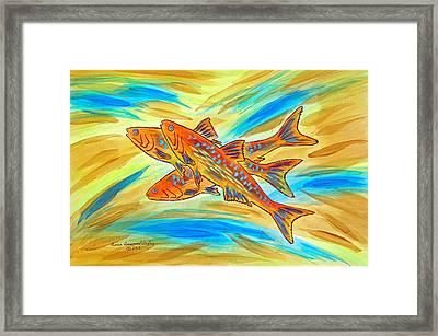 Fish Burst Framed Print by Susan Greenwood Lindsay