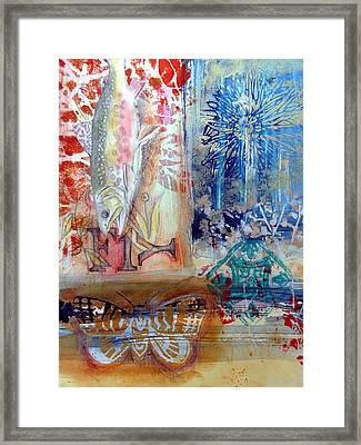 Framed Print featuring the mixed media Fish Collage #1 by Rose Legge