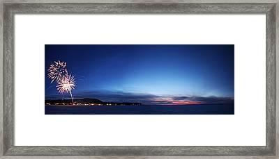 Fish Creek Fireworks Framed Print by Ty Helbach