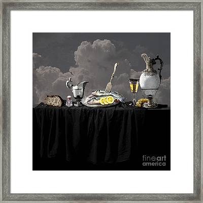 Fish Diner In Silver Framed Print