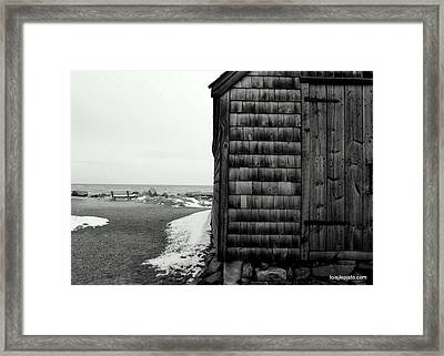 Fish House At The Sea Framed Print by Lois Lepisto