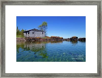 Fish House Reflections Framed Print by Sandra Updyke