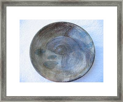 Fish -in -a -pond Plate Framed Print by Julia Van Dine