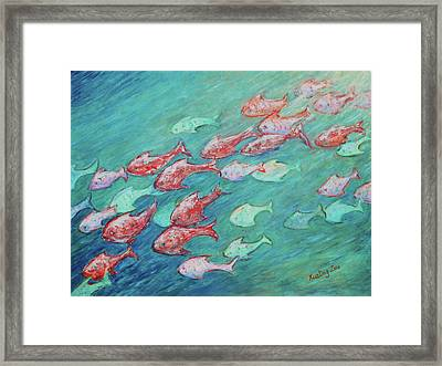Framed Print featuring the painting Fish In Abundance by Xueling Zou