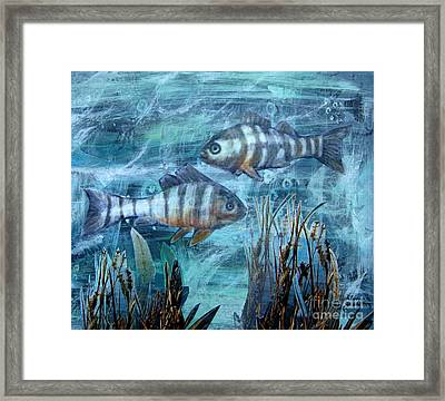 Framed Print featuring the mixed media Fish In Icy Water by Patricia Januszkiewicz
