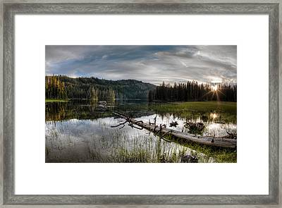 Fish Lake Evening Framed Print by Leland D Howard