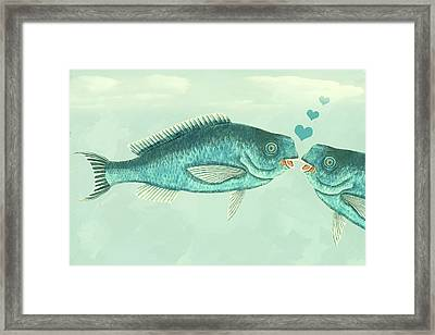 Fish Love Whimsical Wall Art Framed Print