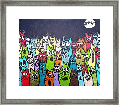 Fish Moon Cats Framed Print