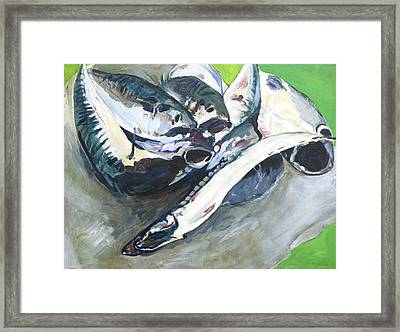 Fish On A Table Framed Print