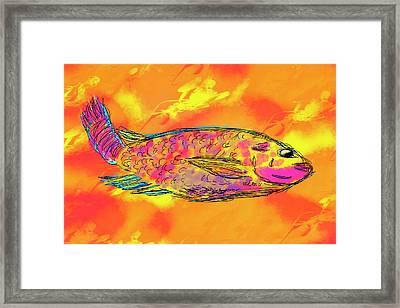 Fish On Orange Framed Print