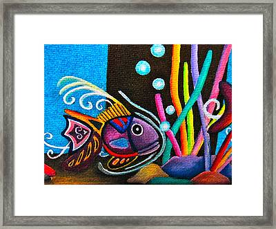 Framed Print featuring the painting Fish On Parade by Lori Miller