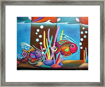 Framed Print featuring the painting Fish On Parade Two by Lori Miller