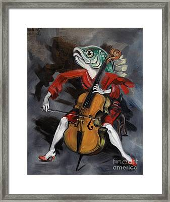 Fish Playing Cello Framed Print by Ellen Marcus