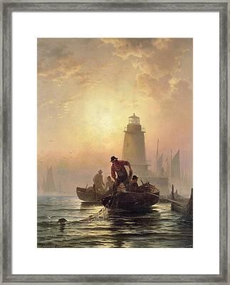 Fish Pond, Orient Bay, Long Island Framed Print by Edward Moran