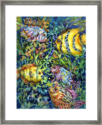 Fish Tales Iv Framed Print by Ann  Nicholson