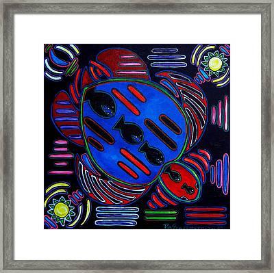 Fish Turtle Mola Framed Print by Patti Schermerhorn