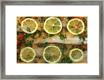 Framed Print featuring the photograph Fish With Lemon And Coriander By Kaye Menner by Kaye Menner