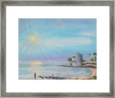 Fisher Man At Breach Inlet Framed Print
