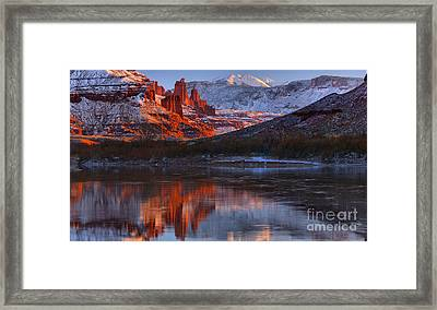 Framed Print featuring the photograph Fisher Towers And La Sal Mountains by Adam Jewell