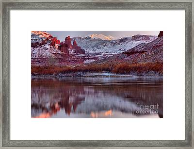 Framed Print featuring the photograph Fisher Towers Fading Sunset by Adam Jewell