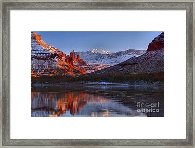Framed Print featuring the photograph Fisher Towers Glowing Reflections by Adam Jewell