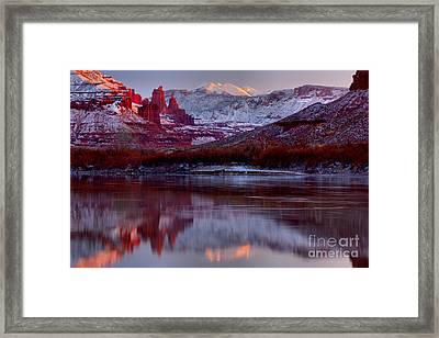 Framed Print featuring the photograph Fisher Towers Landscape Glow by Adam Jewell