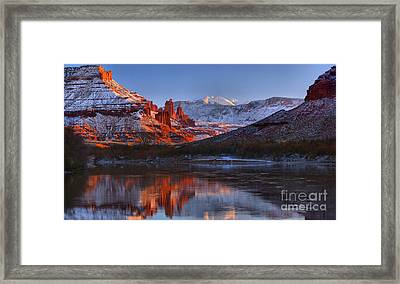 Framed Print featuring the photograph Fisher Towers Sunset Glow Panorama by Adam Jewell