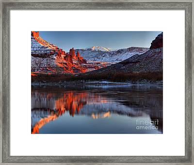Framed Print featuring the photograph Fisher Towers Sunset On The Colorado by Adam Jewell