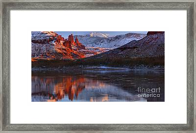 Framed Print featuring the photograph Fisher Towers Sunset Reflection Panorama by Adam Jewell