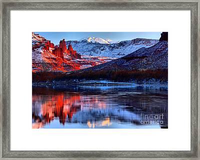 Framed Print featuring the photograph Fisher Towers Sunset Winter Landscape by Adam Jewell