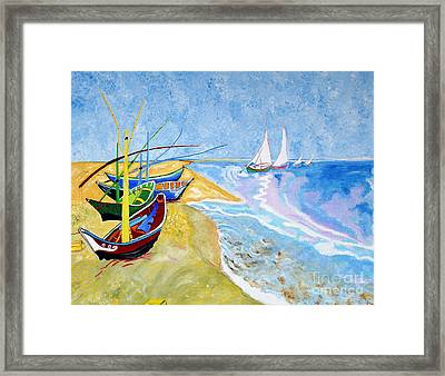 Fisherboats- Tribute To Van Gogh Framed Print