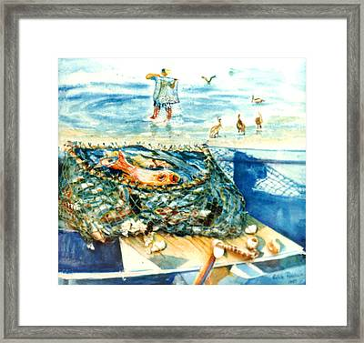 Fisherman And His Assistants Framed Print by Estela Robles
