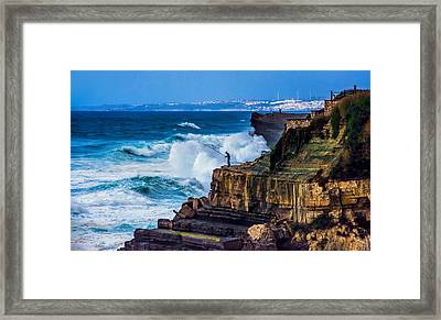 Fisherman And The Sea Framed Print by Marion McCristall