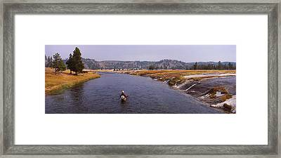 Fisherman Fishing In A River, Firehole Framed Print