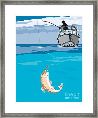 Fisherman Fishing Trout Fish Retro Framed Print