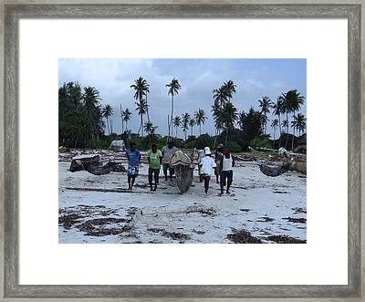 Fisherman Heading In From Their Days Catch At Sea With A Wooden Dhow Framed Print