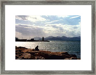 Fisherman In Nice France Framed Print by Nancy Mueller