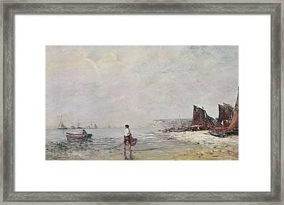 Fisherman In Villerville Framed Print by Eugene Louis Boudin