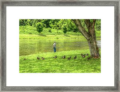 Fisherman Lazy Day At The Lake Framed Print by Randy Steele