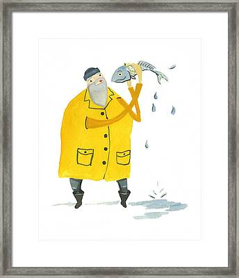Framed Print featuring the painting Fisherman by Leanne WILKES