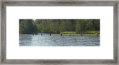 Fisherman Lineup Kenai River Framed Print by Mary Gaines