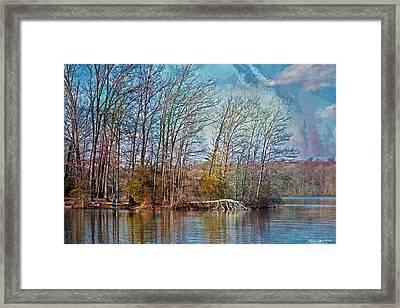 Fisherman On Burke Lake Framed Print