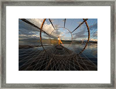 Fisherman On Inle Lake Framed Print by Mark Prior