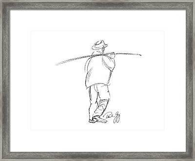 Fisherman On Pass Christian Louisiana Dock Framed Print