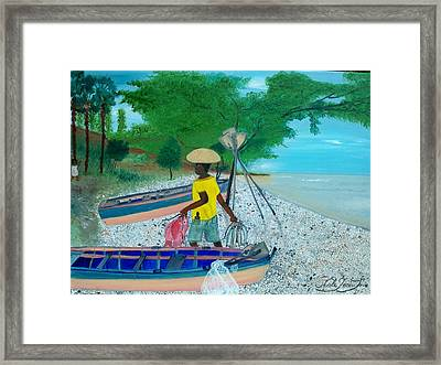 Framed Print featuring the painting Fisherman Returning Home by Nicole Jean-louis