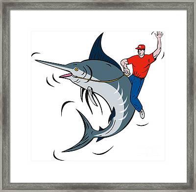 Fisherman Riding Marlin Framed Print by Aloysius Patrimonio